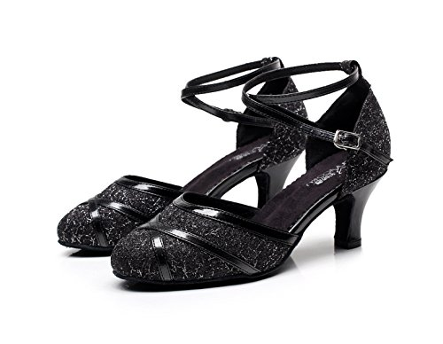 De JSHOE Talon Toe Danse Paillettes Ballroom EU36 Tango UK4 PU Latine 5 Closed heeled6cm Haut Black Salsa Cuir Chaussures Womens Our37 xOrq7tO