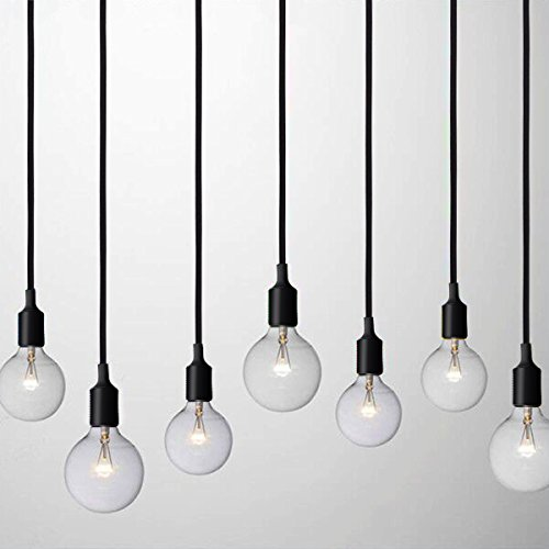 2 Pack Plug-In Pendant Light, 16.4Ft Vintage Industrial Edison Style One-Light Socket E26/E27 Silica Gel Base Black Round Hanging Light Cord with On/Off Switch (2 Pack) by HESSION (Image #4)