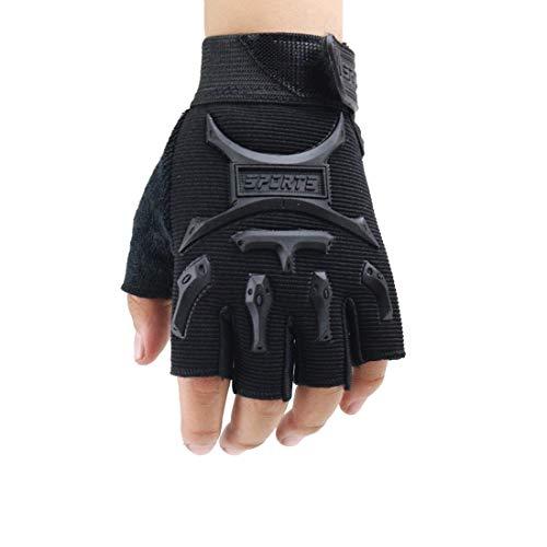 4-13 Y Kids Half Finger Gloves Boys Girls Anti-slip Tactical Biker Mittens Long Keeper (Black, M) (Biker Girl)