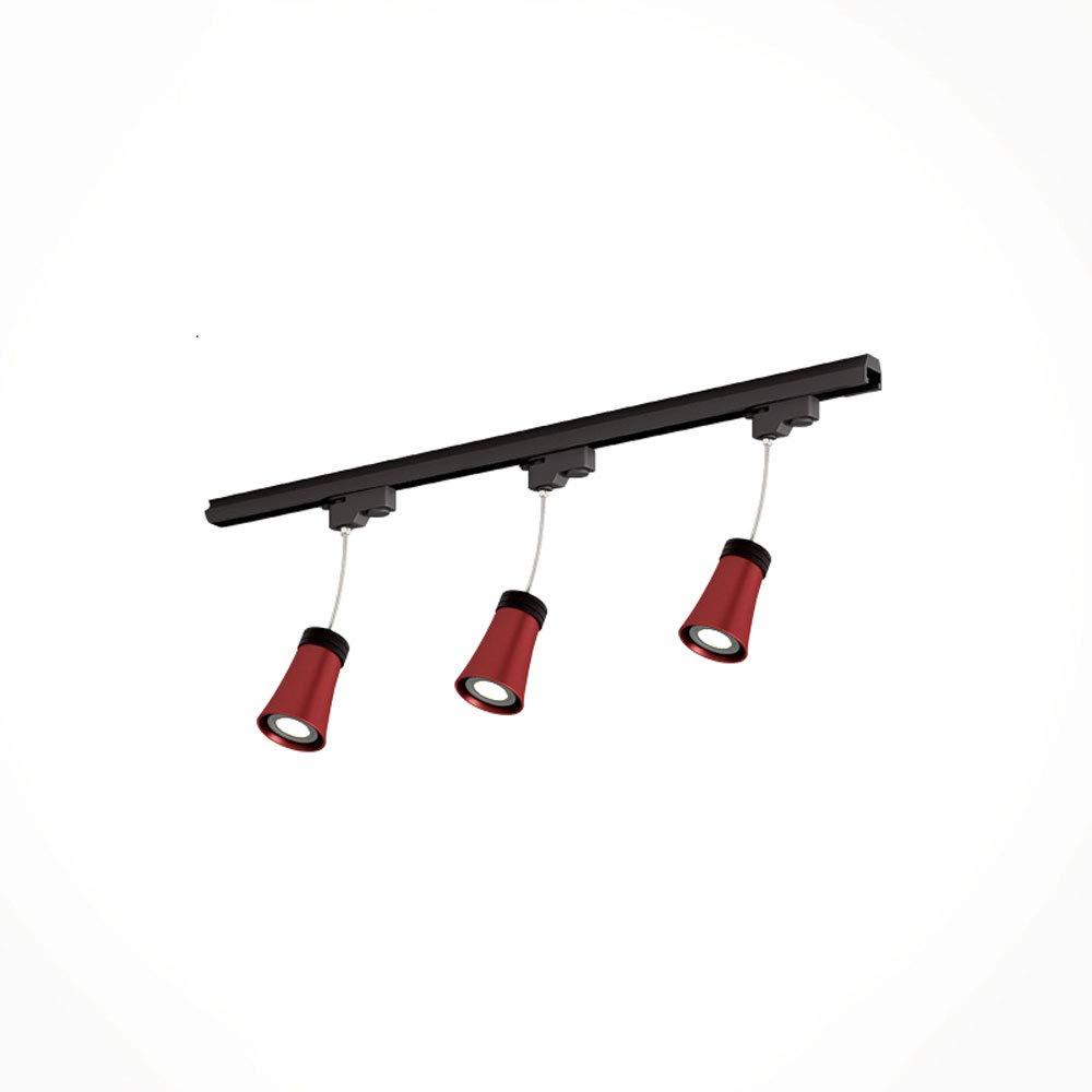 Mei Xu Track Light - Industrial Spotlight Track Lights LED Track Spot Lights - Red - 3/4 Heads - 10w Track Lamp (Size : 3 Heads)