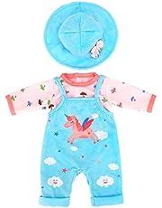ZWOOS Dockkläder för nyfödd babydocka, enhörningsmönster outfit med hatt för dockor 35–43 cm