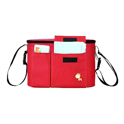 De gran capacidad del cochecito de niño del bolso del pañal del bebé de la momia del bolso del bolso del cochecito de bebé Cochecito Organizador Republe Rojo