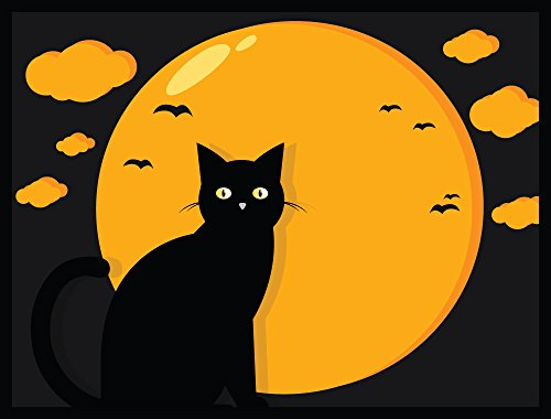 [Halloween Decoration Front Door Welcome Mat - Black Cat - 24 x 18 Inch Doormat] (Animated Lifesize Flying Witch)