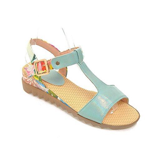 AllhqFashion Women's Buckle Open Toe Low-heels PU Dichromatic Wedges-Sandals Blue