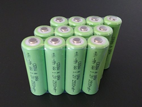 Bulk Pack - 12 AA NiMh High Capacity 1.2V 2500 mAh Button Top Rechargeable Cells for Remotes, Flash, etc