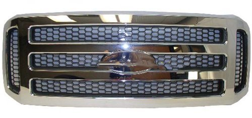 F450 Super Duty Grille Assembly - 05-07 FORD SUPER DUTY PICKUP F250 F350 F450 F550 GRILLE CHROME WITH GRAY HONEY COMB INSERT