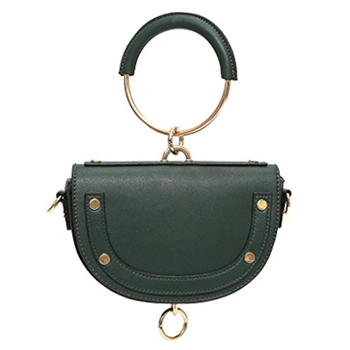 Saddle Bag Crossbody amp;Demons Angels Handbag Circle Leather PU Green Mini Handle Women Ring AWWzca6