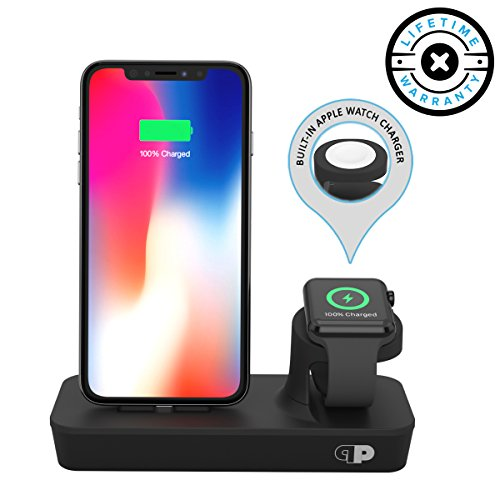 - ONE Dock Duo (APPLE CERTIFIED) Power Station Dock, Stand & Charger with Built-in ORIGINAL Charger for Apple Watch Smart Watch (Series 1,2,3, Nike+), iPhone X/10/8/8 Plus/7/7Plus/6s/6s, iPad and iPod