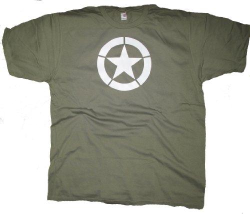 Got-Tee Men's Jeep Star World War 2 T-Shirt L Olive Green