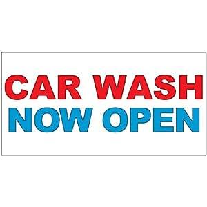 Amazon.com : Car Wash Now Open Red Blue Auto Car Repair ...