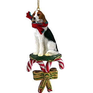 Conversation Concepts American Foxhound Fox Hound Dog Candy Cane Christmas Holiday Ornament 3
