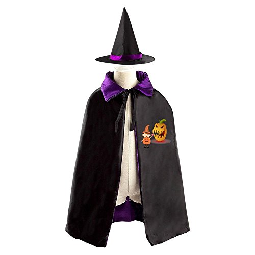 Halloween Wizard Poncho Tag Reversible Costumes Suit Print With Hungry Pumpkin For Children Cosplay In Role-Playing (purple)
