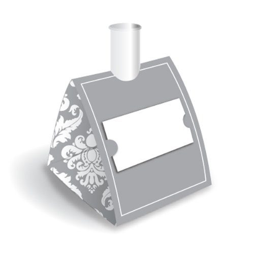 Blumebuds Vase/Placecard Holder (set of 6) - Silver Damask