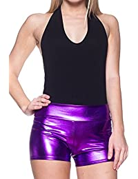 J2 LOVE Made in USA Faux Leather Metallic Shorts (up to 5X)