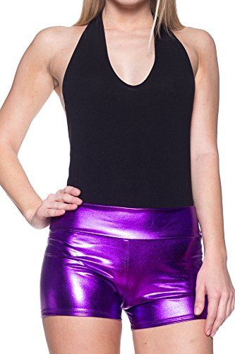 Purple Faux Leather - Women's J2 Love Faux Leather Shorts, Small, Purple