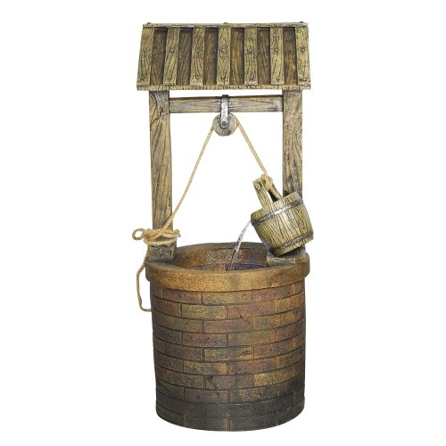 Yosemite Home Decor CW73024 Vintage Style Wishing Well Fountain with LED Accent Lighting