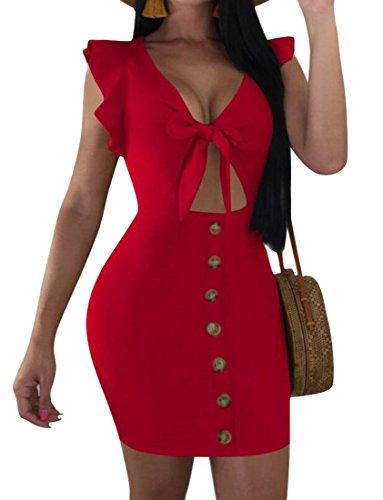 V Collo Partito Womens Bodycon Rosso Moda Vestito Domple Da Papillon Pulsanti Tagliate Di S0SqIxPwfn