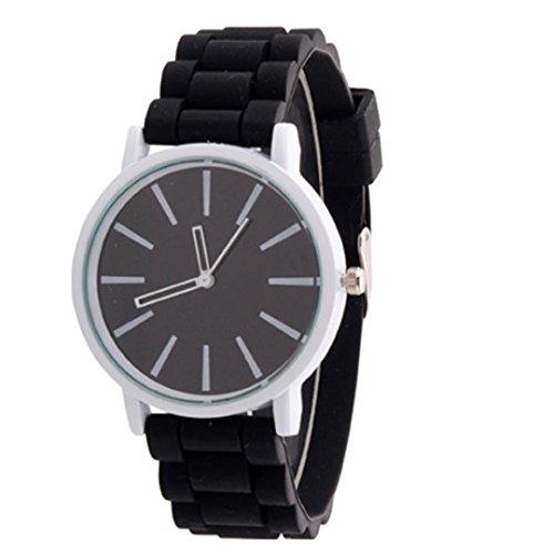 atch, Silicone Rubber Jelly Gel Quartz Analog Sports Wrist Watch (Black) ()