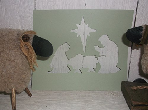 Vintage look NATIVITY Jesus Mary Joseph Christmas stencil for painting on paper, wood, etc ASK 4 CUSTOM SIZES AND WORDS farmhouse primitive old ()