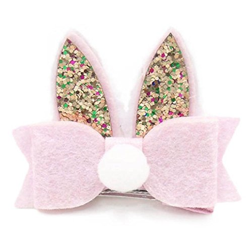 - Kehen Boutique Hair Clip Pompom Sequined Rabbit Ear Hair Clip Bow Hairpin Hairgrip Headdress for Kid Toddler Baby Girl (Pink)