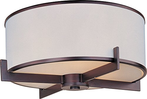 - Maxim 12050WTOI Nexus 3-Light Flush Mount, Oil Rubbed Bronze Finish, White Glass, MB Incandescent Incandescent Bulb , 100W Max., Damp Safety Rating, Standard Dimmable, Glass Shade Material, 3450 Rated Lumens