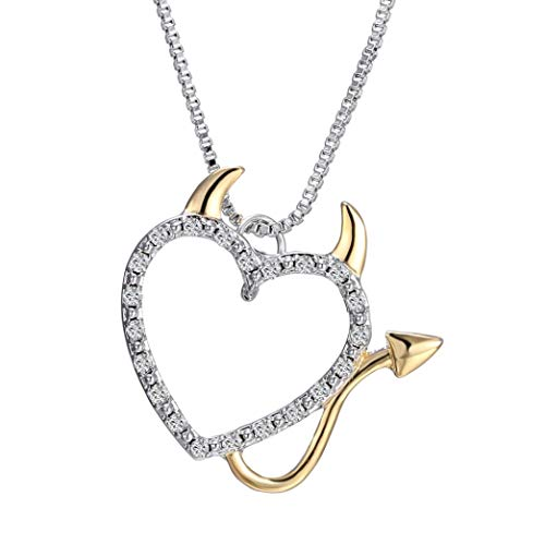 (DOZOGU Cute Charms Gold and Silver Plated Love Heart Shaped Devil Heart Pendant Necklace for Women Jewelry for Women Summer Decoration with Box Chains)