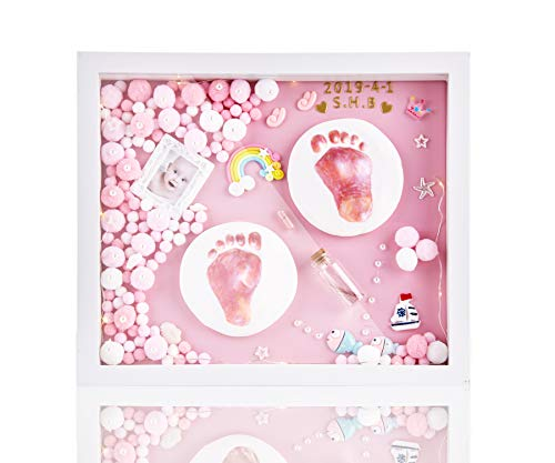 - Baby Handprint Kit & Footprint Photo Frame for Newborn Girls and Boys, Personalized Baby Keepsake, Non-Toxic Clay, Wall/Table Solid Wood Picture Frame. Perfect Registry, Baby Shower & Newborn Gift!