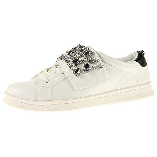 Steve Madden Kvinna Samarbeta Faux Läder Förskönat Mode Sneakers Vita