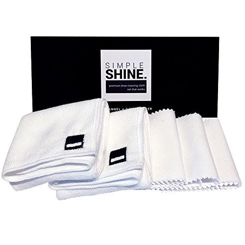 Premium Set Shoe Shining Cloths 3 Flannel & 2 Microfiber | Best for Buffing,Cleaning & Polishing Leather from Simple Shine