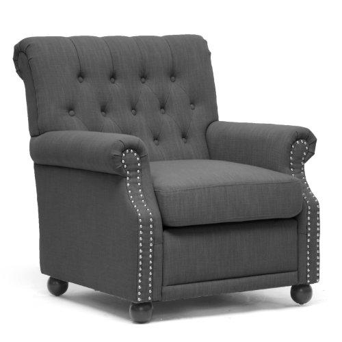 Baxton Studio Moretti Dark Gray Linen Modern Club Chair For Sale