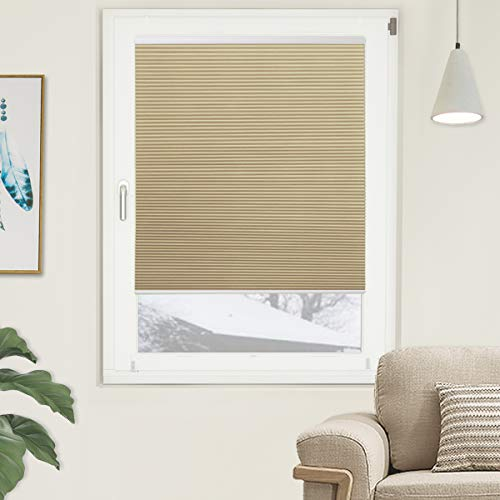 Grandekor Blackout Cellular Shades Single Cell Cordless Room Darkening Shade for Windows Bedroom, Thermal and Easy to Pull Down & Up, Cream White, Size: 35