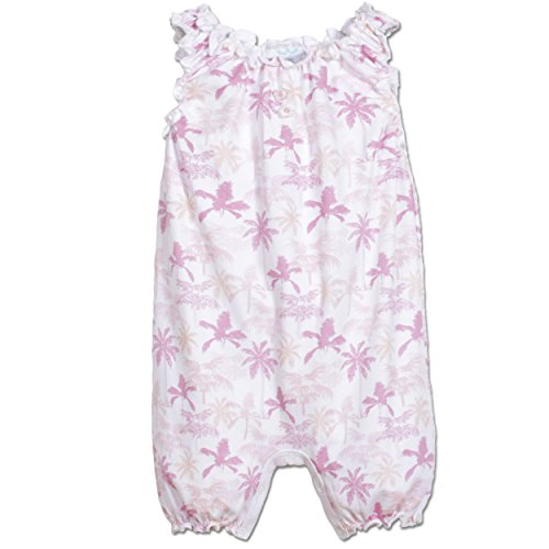 Feather Baby Girls Clothes Pima Cotton Sleeveless One-Piece Sunsuit Bubble Shortie Baby Romper, 6-9 months, Palm Trees-Pink on White ()