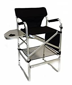 deluxe tall folding director chair with side table and side bag tall aluminum. Black Bedroom Furniture Sets. Home Design Ideas