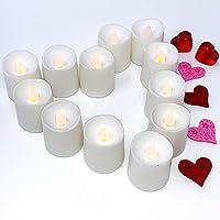 Velas sin llama que parpadean e iluminadas por LED - Banberry Designs - Caja de 12 - Decoraciones para bodas - Velas de imitación blancas - Juego de velas sin llama - Centros de mesa