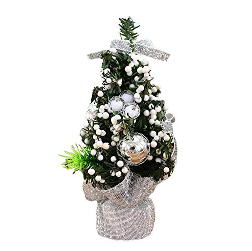 Mini Artifical Christmas Tree Tabletop Fir Decor Set with Ornaments,Great Choice Decoration for Table Desk Tops, Perfect to Decorate Your Home or Office, Gold Ornaments Indoor Use -