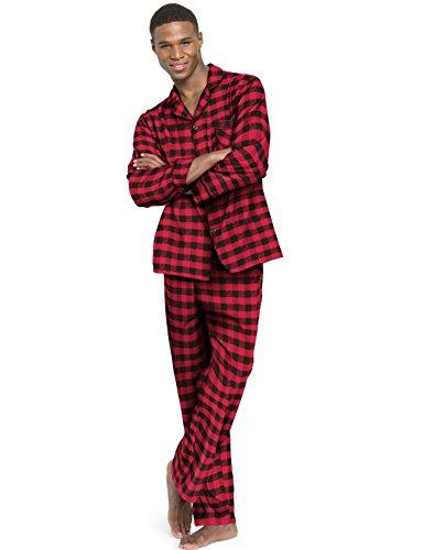 Set Pj Check (Hanes Men`s Flannel Pajamas,0140/0140X,L,Buffalo Check)