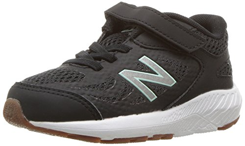 New Balance Girls' 519v1 Hook and Loop Running Shoe, Black/Seafoam, 2 M US ()