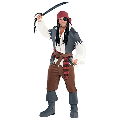 Adult's Men's Captain Castaway Pirate Fancy Dress Halloween Party Costume (Plus (Scurvy Pirate Costumes)