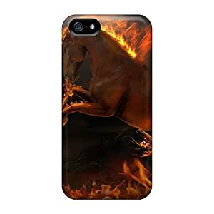 ENYcO6114FUQQl Tpu Phone Case With Fashionable Look For Iphone 5/5s - 3d Burning Horse