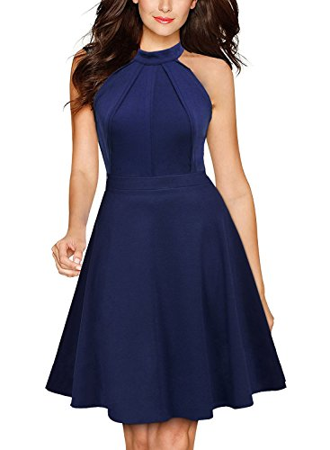 BOKALY Women Casual Cocktail Party Dress Halter Neck A-Line Skater Dresses BK218 (XL, Blue)