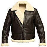 B3 Bomber WWII Pilot Real Shearling Brown Sheepskin Leather Jacket (XL)