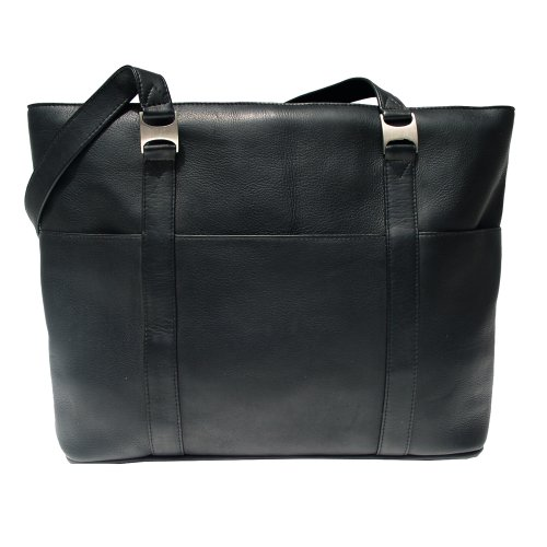 Piel Leather Computer Tote Bag, Black, One Size by Piel Leather