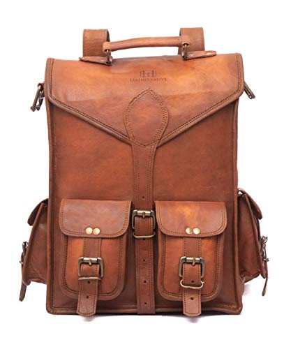 Leather Messenger Bag Briefcase Satchel - 2-in-1 Rucksack and Courier Bag, Fits 15-inch MacBook Crossbody or On Your Back - Handmade 15