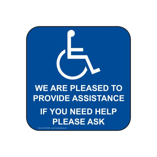 ComplianceSigns Vinyl Accessibility Label, 6 x 6 in. with English, Blue from ComplianceSigns