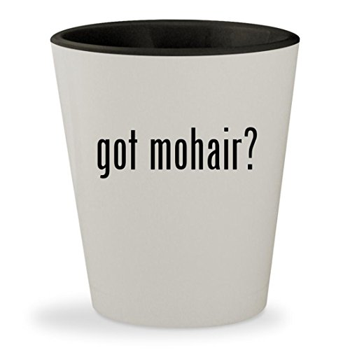 got mohair? - White Outer & Black Inner Ceramic 1.5oz Shot Glass - Kid Mohair Throw