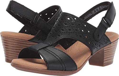 CLARKS Women's Valarie Mindi Heeled Sandal Black Leather 060 M US