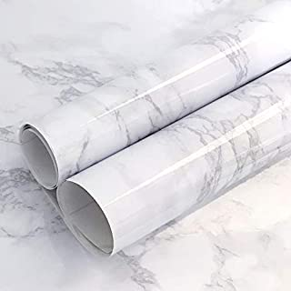 "Gray Marble Paper Waterproof Marble Paper for Countertop Marble Paper Removable Wallpaper Stick an Peel Thick Self Adhesive White Marble Paper Vinyl Roll 78.7""x15.7"""