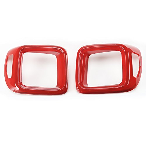 BORUIEN Pair ABS Tail Lamp Rear Light Cover Trim Frame Decor Ring for Jeep Renegade 2015 2016 2017 (red)