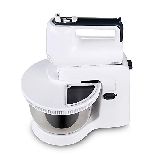 Desktop Automatic Egg Beater, Portable Stand Mixer Electric Mixer with Bowl Stainless Steel Beaters 5-Speed Settings Hand Mixer-White