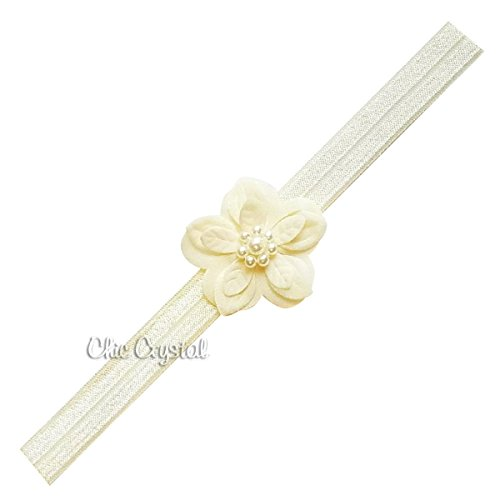 Ella flower soft headband with pearls (6-12months, ivory)